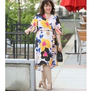 Eloquii bold floral stripe wrap dress